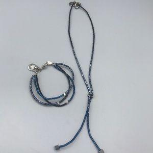 Blue Beaded Necklace and Bracelet Set